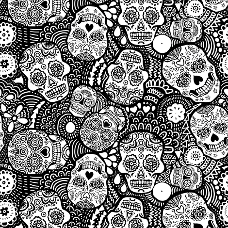 Mexican Sugar Skulls black and white (for colouring in) EXTRA SMALL fabric by lusykoror on Spoonflower - custom fabric