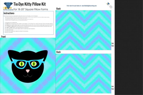 Tie-Dye Kitty Pillow Kit fabric by blue_dog_decorating on Spoonflower - custom fabric