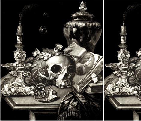 skulls bones skeletons monochrome black white gothic victorian candlesticks candelabrum candelabra candles bubbles books flowers floral wheat rye barley still life portraits oysters shells vases pagan Wicca witchcraft antique halloween spooky macabre morb fabric by raveneve on Spoonflower - custom fabric