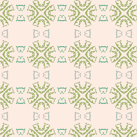 Green Wheels on Oolong Pink fabric by gargoylesentry on Spoonflower - custom fabric