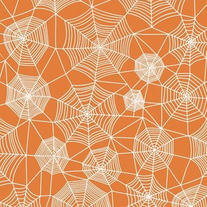 Spider web Halloween Fabric Spiderwebs White on Orange