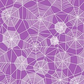 Spider web Halloween Fabric Spiderwebs White on Purpel Purple