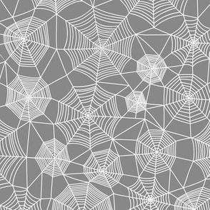 Spider web Halloween Fabric Spiderwebs White on Dark Grey