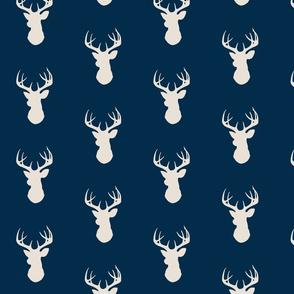 Deer- cream on navy