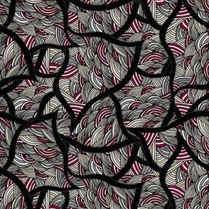 Gaze Unto Me Geometrical Waves in Red, Black, Gray, Beige