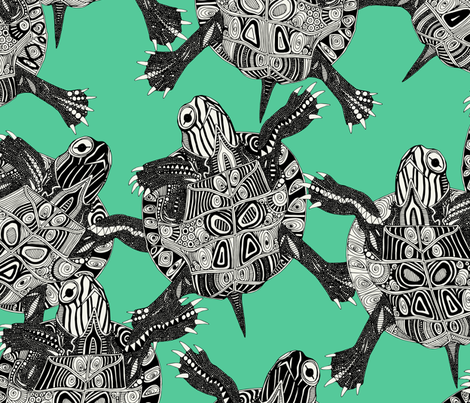 turtle party green fabric by scrummy on Spoonflower - custom fabric