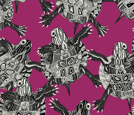 turtle party pink fabric by scrummy on Spoonflower - custom fabric