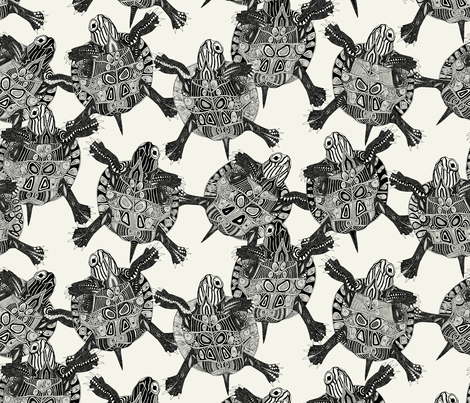 turtle party ivory black small fabric by scrummy on Spoonflower - custom fabric