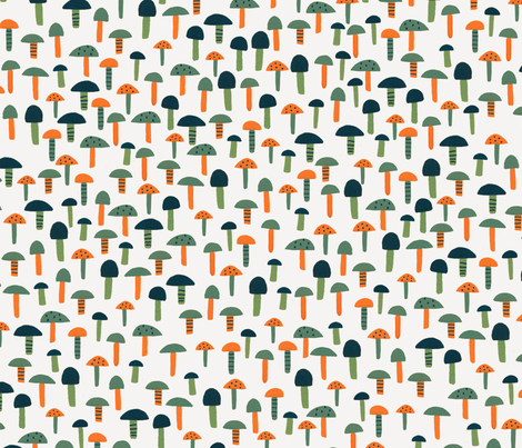 Seventies Birds Teeny Mushrooms fabric by zoe_ingram on Spoonflower - custom fabric