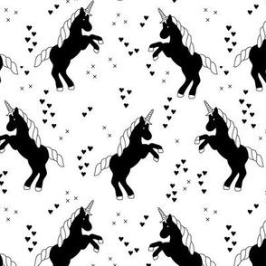 Black and white monichrome unicorn dreams hearts and geometric crosses fun girls design