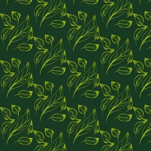 Drifting Leaves on Forest Green