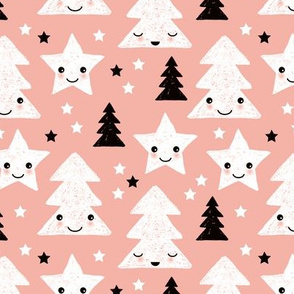 Merry christmas kawaii seasonal christmas trees and stars Japanese illustration print pastel pink