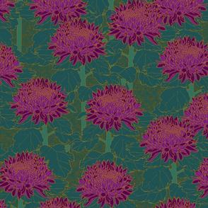Cloisonné Chrysanthemums - Purple Teal