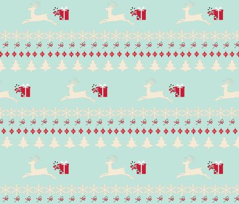 Rain deer gifts-seafoam - LARGE fabric by drapestudio on Spoonflower - custom fabric