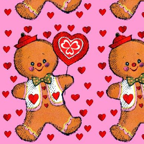 valentine hearts gingerbread man boy clover balloons signs bow ties hats love vintage retro kitsch