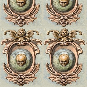 skulls grotesque cherubs angels heads earth planets Victorian gothic halloween pagan Wicca witchcraft antique bones skeletons spooky macabre morbid