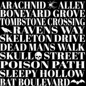 Dead Mans Walk Halloween Typography Black & White