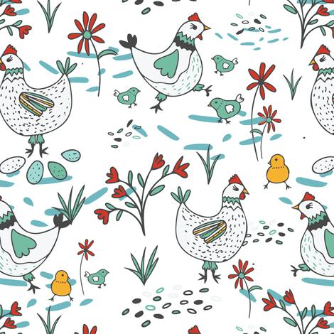 Freerange Hens and Chicks fabric by jacquelinehurd on Spoonflower - custom fabric