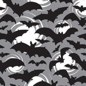 Night Watch - Halloween Bats Grey