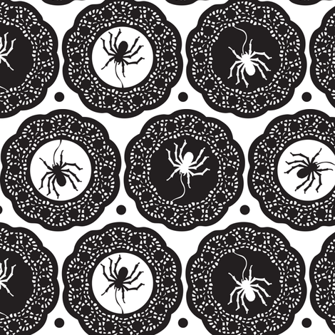 Spiders Delight - Halloween White and Black fabric by heatherdutton on Spoonflower - custom fabric
