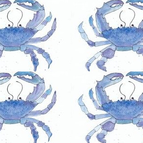 Sea Glass Blue Watercolor Crab
