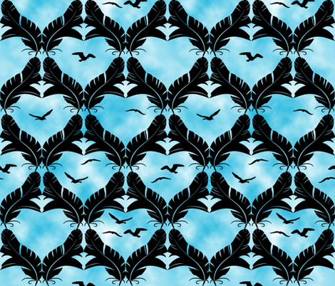 Flocked Gulls fabric by bliss_and_kittens on Spoonflower - custom fabric