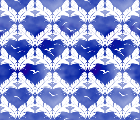 Flocked Gulls Batik Style fabric by bliss_and_kittens on Spoonflower - custom fabric