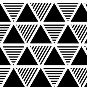 Solid & Striped Triangle | Black-and-White Large