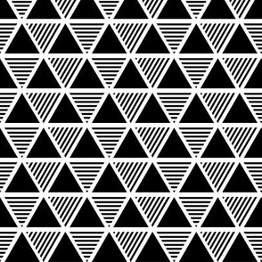 Solid & Striped Triangle | Black-and-White Small