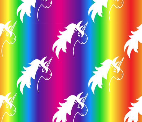 Big Rainbow Unicorn fabric by kellyparkersmith on Spoonflower - custom fabric
