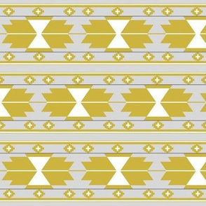 Gold and Grey Southwestern Kilim - Southwestern Aztec