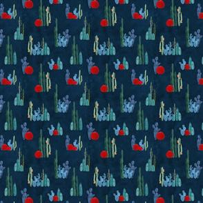 Cactus garden on deep blue-ed