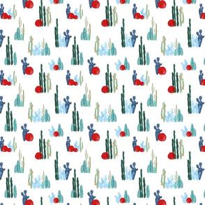 Cactus garden on white-ed