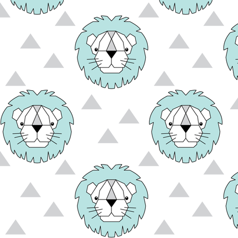 Geometric teal lions on white fabric by lilcubby on Spoonflower - custom fabric
