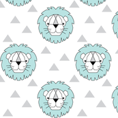 Geometric teal lions on white