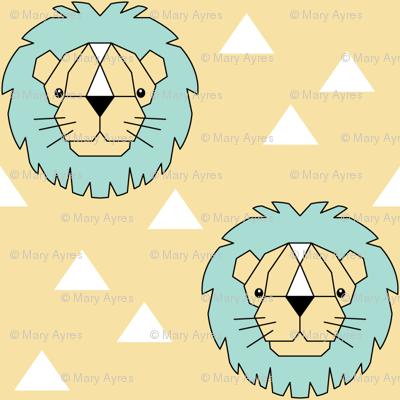 Geometric lions on cream