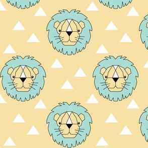Geometric lions on cream