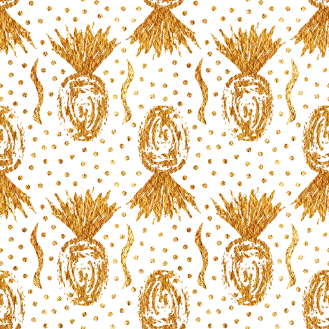 Large Golden Pineapple Stamps - White fabric by arwenartanddesign on Spoonflower - custom fabric