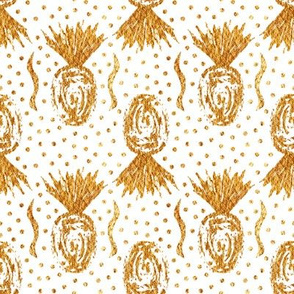 Large Golden Pineapple Stamps - White