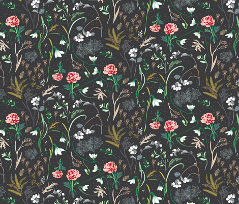 Enchanted floral (charcoal)  fabric by nouveau_bohemian on Spoonflower - custom fabric
