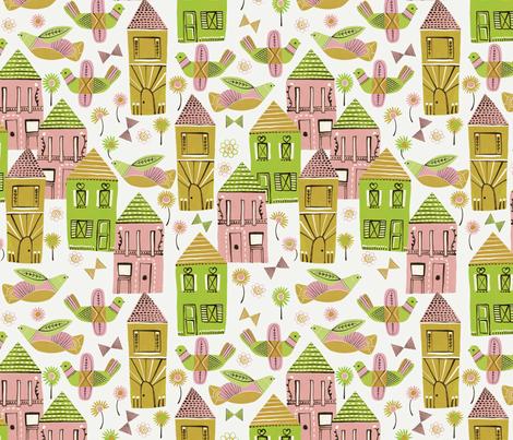 Bird Village fabric by zoe_ingram on Spoonflower - custom fabric