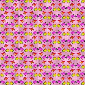 Seamless Mod Fish on Hot Pink Bias Checkerboard