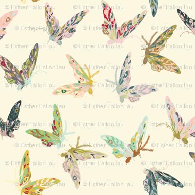 Enchanted Butterflies (cream)