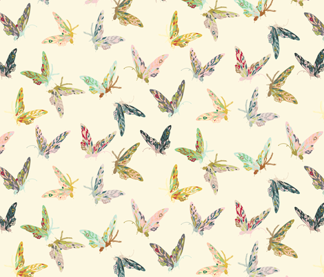 Enchanted Butterflies (cream)  fabric by nouveau_bohemian on Spoonflower - custom fabric