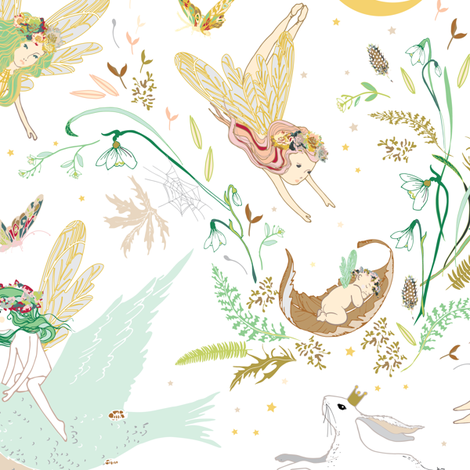Enchanted Fairies (white) fabric by nouveau_bohemian on Spoonflower - custom fabric