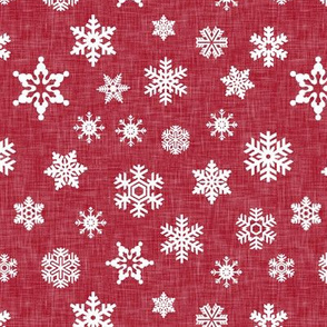 snowflake on red linen || holiday