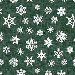 snowflake - forest green linen || holiday