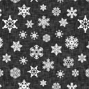 snowflake - dark grey linen || holiday