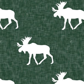 moose - hunter green linen (large scale)