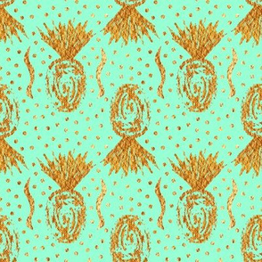 Large Golden Pineapple Stamp - Minty